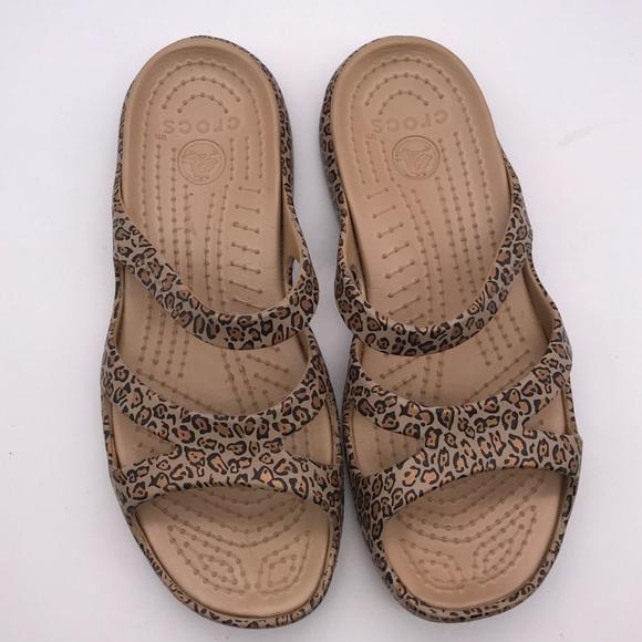 leopard crocs size 8